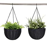 Giantex Outdoor Garden Hanging Planter Round Decor PE Rattan Hanging Planter Pot (2-Pack) For Sale