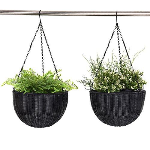 Giantex Outdoor Garden Hanging Planter Round Decor PE Rattan Hanging Planter Pot (Black Large Outdoor Hanging)