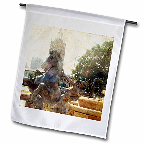 3dRose Cassie Peters Kansas City - Kansas City J.C. Fountain Horse - 18 x 27 inch Garden Flag (fl_262921_2) by 3dRose