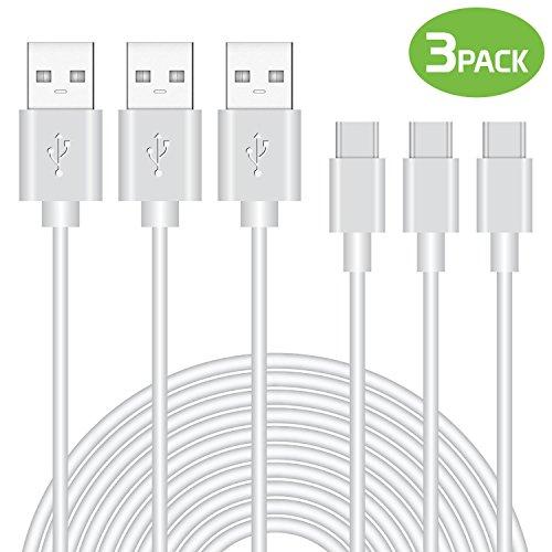 Cellet 3 Pack Durable 3.3ft (1m) Tipo C Cable de Datos, Carga Rápida (2.4Amp)/Cable de Sincronización de Datos Compatible...