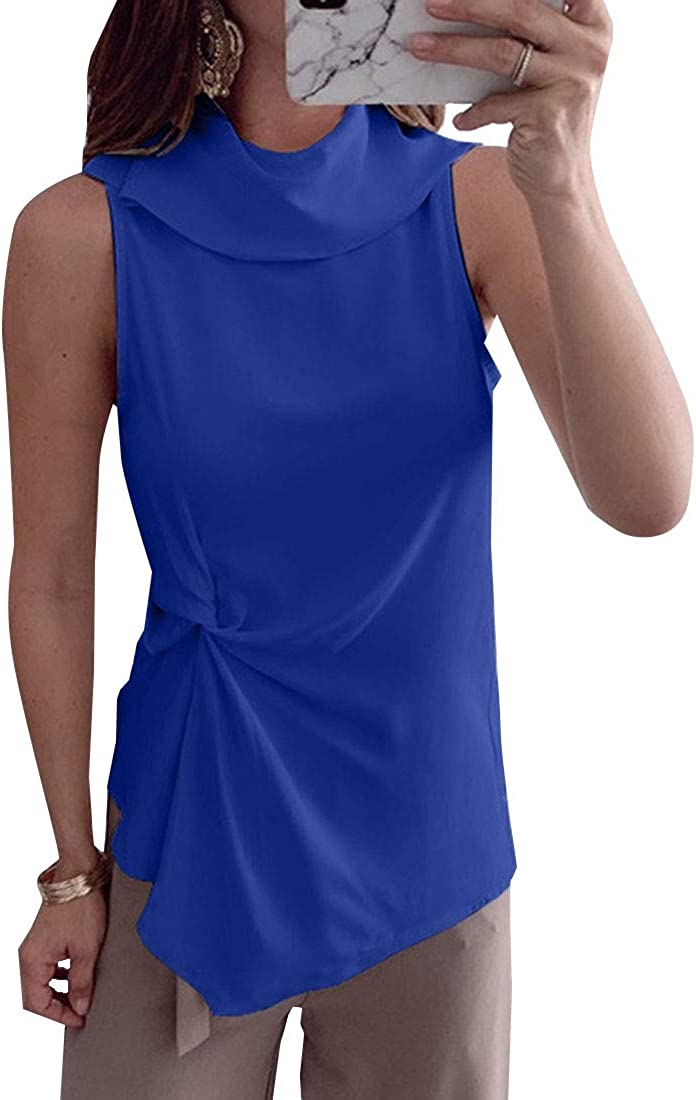 Fashion Loose Tops Mock Neck Casual Solid Color T-Shirt Womens Blouse