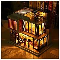 SYLTL DIY Dollhouse Kit Three-Storey Villa Rooftop Swimming Led Lights Home Decor Cabin Handmade Birthday Gift Wooden Dolls House Educational Toys