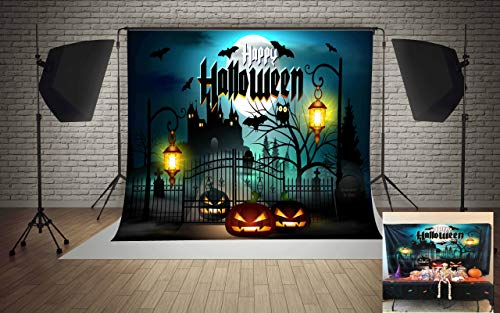 7x5ft Microfiber Happy Halloween Moon Pumpkins Castle Lamps Party Decorations Photography Backdrop Seamless No Creases Folding and Washable Photo Booth Background ... -