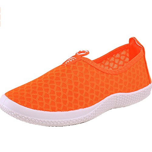 Net Shoes Casual Flats Ladies Shoes Orange Slip Loafer On VECJUNIA q1x7HCw