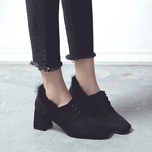 los con profunda pelo de Negro bold 39 de zapatos agua Boca zapatos mujer trenzado profunda zapatos boca de zapatos tacón alto solo visón solo satén 0FqppPUIw