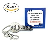 key2Bme Softball Keychain and Inspirational Quote - Great Gift for Coaches, Teams, and Players (3-Pack)
