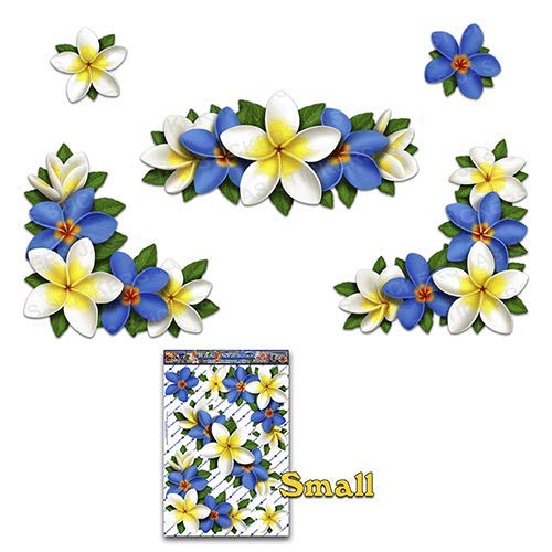 JAS Stickers Flower Frangipani Plumeria Small Corners Blue/White Car Sticker Decal Pack for Laptop Caravans, Trucks, Boats - ST00045BL_LGE