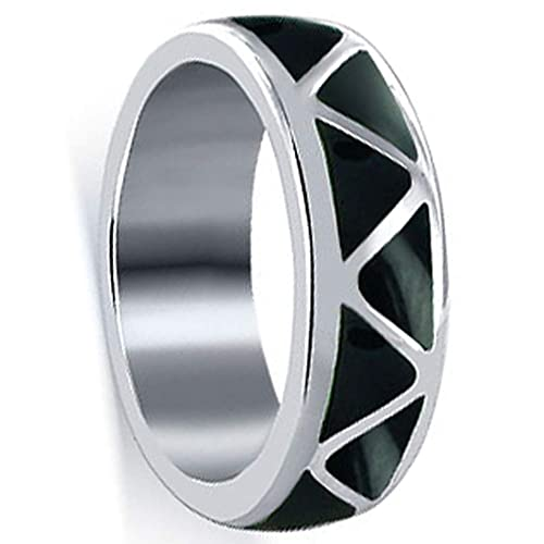 Gem Avenue 925 Sterling Silver Southwestern Style Simulated Black Onyx Inlay Band Ring