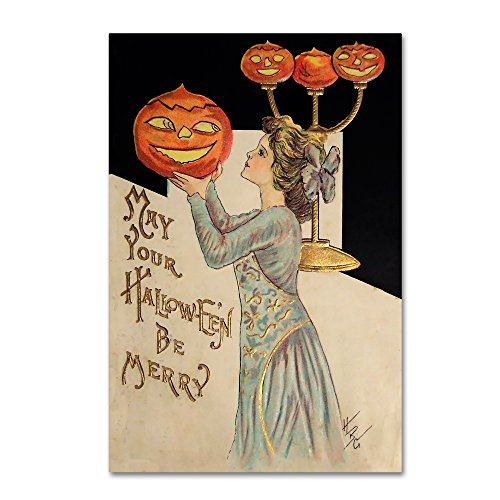 Halloween Girl Holding Pumpkin by Vintage Apple Collection, 22x32-Inch -