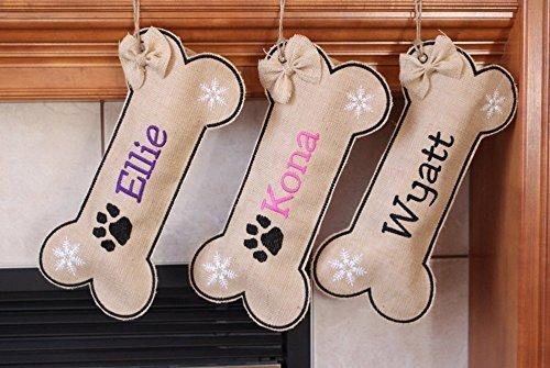 Personalized Dog stocking, Burlap pet Stocking, personalized stocking,custom name, Christmas stocking for dog, Paw Print, bow,Snowflake