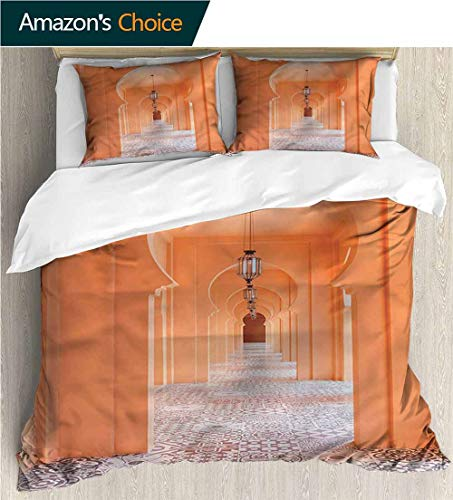 (carmaxs-home Print Comforter Quilt Set,Box Stitched,Soft,Breathable,Hypoallergenic,Fade Resistant with 2 Pillowcase for Kids Bedding-N Moroccan Walkway Portico (79
