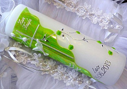 Cierge de baptême fille 250/70mm VT 04avec accessoires pour personnalisables kerzenzauber-lusine