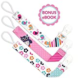 Liname Pacifier Clip for Girls with BONUS eBook - 3 Pack Gift Packaging - Premium Quality & Unique Design - Pacifier Clips Fit ALL Pacifiers & Soothers - Perfect Baby Gift