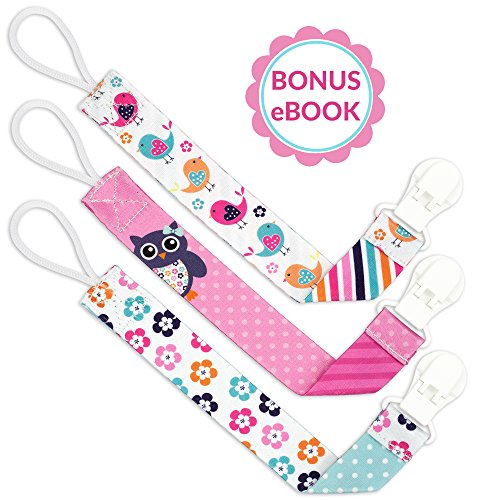 Liname️ Pacifier Clip for Girls with Bonus eBook - 3 Pack Gift Packaging - Premium Quality & Unique Design - Pacifier Clips Fit All Pacifiers & Soothers - Perfect Baby Gift