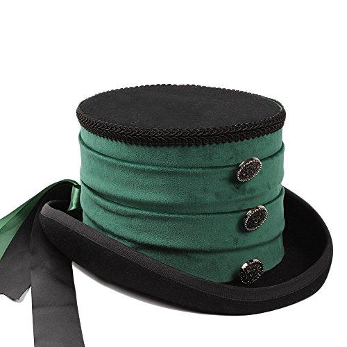 Fashion Sombrero Cuervo La color Victorian Del Banquete Verde Boda Copa 1 Happy Sombrero l Cap De Lana Tamaño 1 ocio Steampunk 57cm EPZ8x8qSw