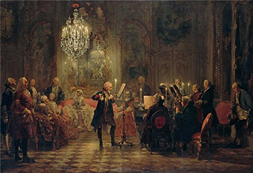 Oil Painting 'Adolph Menzel Flotenkonzert Friedrichs Des Grossen In Sanssouci ' Printing On High Quality Polyster Canvas , 10 X 15 Inch / 25 X 37 Cm ,the Best Bedroom Decoration And Home Gallery Art And Gifts Is This High Definition Art Decorative Prints On Canvas