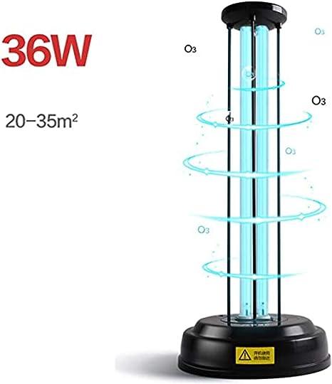 Lámpara de esterilización UV Hunterace Luz de desinfección ultravioleta de ozono 36W con temporizador de control Desinfectante portátil móvil Desinfectar la luz Eliminar bacterias y virus: Amazon.es: Iluminación