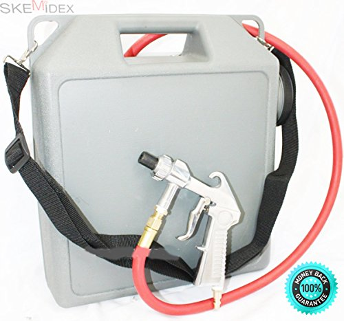 SKEMiDEX---PORTABLE AIR SAND BLASTER AIR CLEANER CLEANING TOOL WITH HOSE AND GUN NEW. Hardened steel nozzle & shoulder strap included Works with glass beads, sand, and aluminum oxide by SKEMiDEX