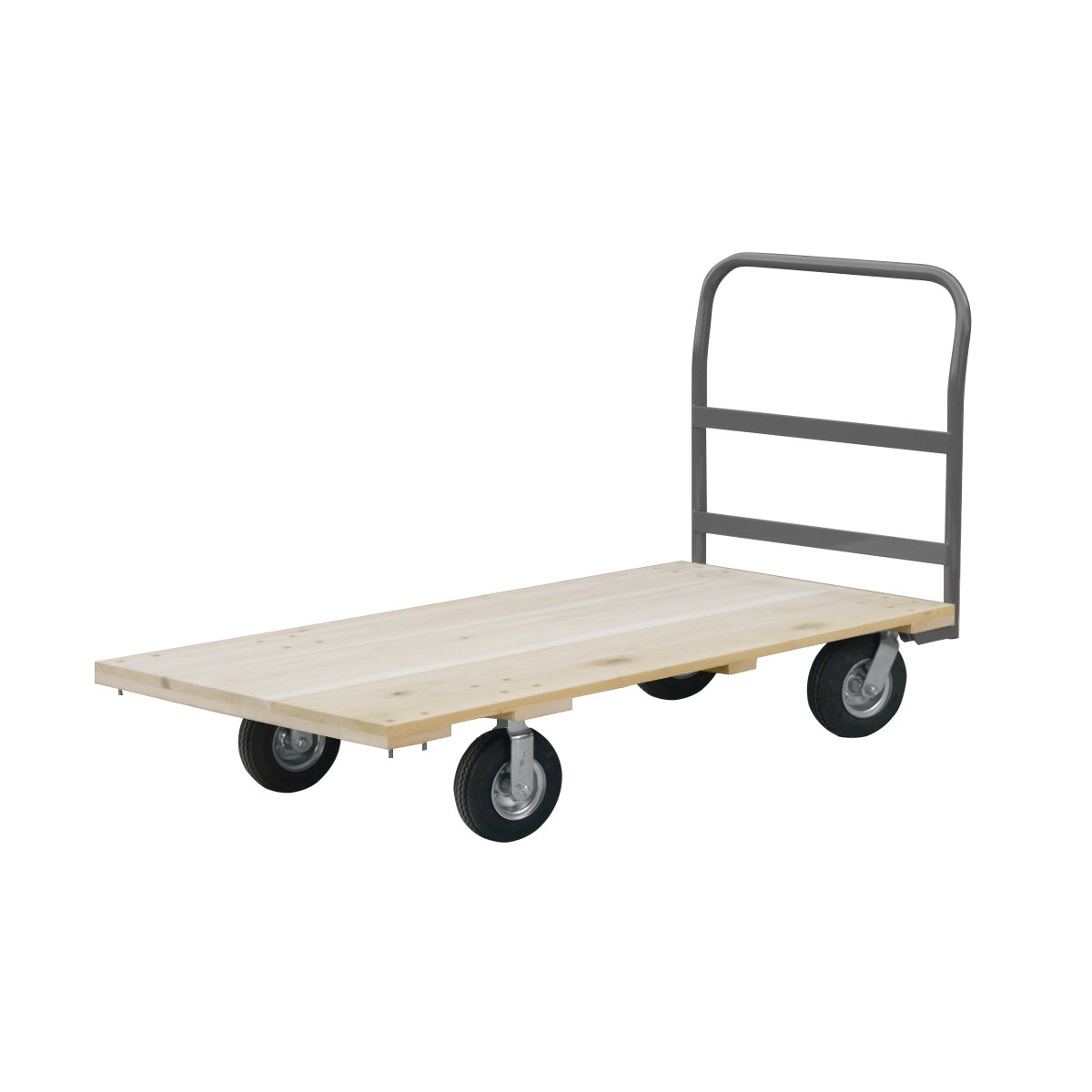 Akro-Mils RPT30605K5N8GY 30-Inch  by 60-Inch  Industrial Grade Hard Wood Platform Truck with Crossbar Handle and 8-Inch  Full-Pneumatic Caster with  1000-Pound capacity
