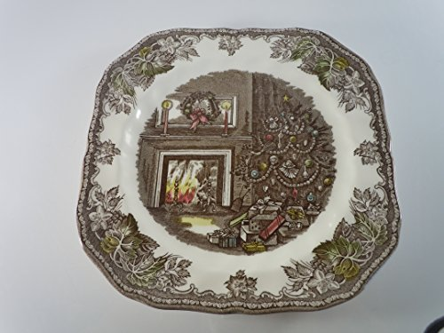 (JOHNSON BROTHERS THE FRIENDLY VILLAGE THE CHRISTMAS SQUARE SALAD PLATE 7 5/8