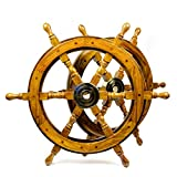 Nautical Handcrafted Wooden Ship Wheel - Home Wall Decor - Nagina International (24 Inches, Natural Wood)