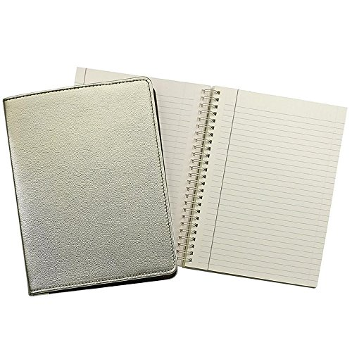 Wire-O-Notebook 9in METALLIC WHITE-GOLD Fine Leather by Graphic Image™ - 7x9 by Graphic Image