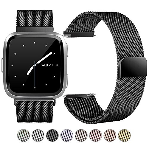 GEAK For Fitbit Versa Bands, Special Edition Milanese Loop Stainless Steel Replacement Wrist Bands with Magnet Lock for Fitbit Versa, Large (Ventilated Metal)