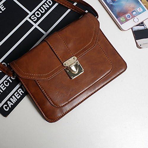 transverse WXIN Summer retro Mobile Phone Bag Satchel lady mini mobile pocket hanging neck zero wallet,Light brown