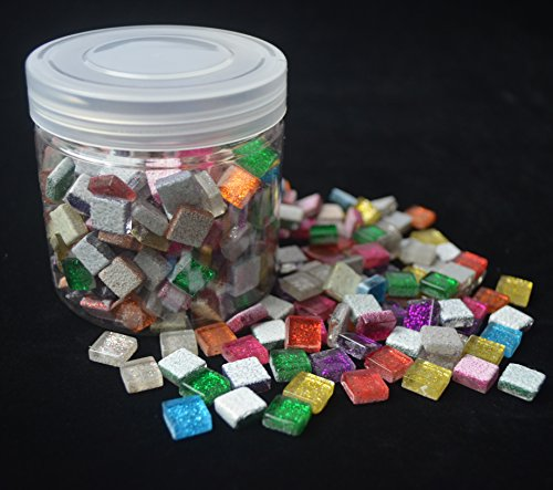 Bister Sparkled Glass Mosaic Tiles Pieces Stained Glass for Mosaic Projects Art Crafts, Rainbow-Assortment, Square, 10oz Value Pack in Jar