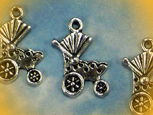 12 Pram Baby Carriage Buggy Charms Antique Silver Tone Adorable Charms and More for Your own Designs by CharmingStuffS