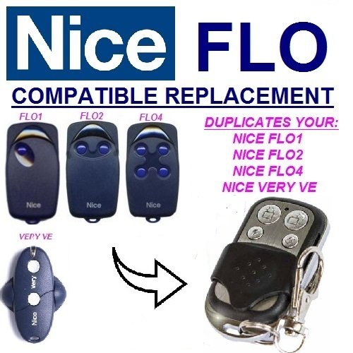NICE FLO1, FLO2, FLO4, VERY VE compatible remote control replacement transmitter, 433.92Mhz fixed code clone