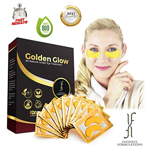 Faithful Formulations 24K Golden Glow - Collagen Under Eye Mask for Puffy Eyes Treatment, Dark Circles & Puffiness Remover Pads, Anti Aging Gel Patches for Wrinkles With Hyaluronic Acid (12 Pairs) (Best Peel For Under Eye Wrinkles)
