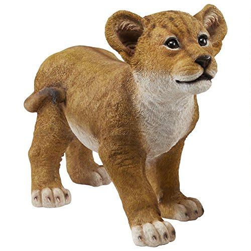 Design Toscano QM28728 Lion Cub of The Sahara Animal Statue: Ahaggar, Full Color (Resin Statues Outdoor Lion)
