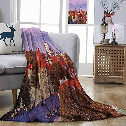 Homrkey Throw Blanket European Cityscape Decor Collection Aerial Citscape of Medieval Old Town in Autumn Twilight Estonia City Heritage Deco All Season for Couch or Bed W60 xL80 Multi