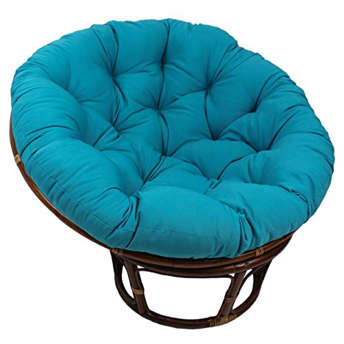 Blazing Needles Solid Twill Papasan Chair Cushion, 52″ x 6″ x 52″, Aqua Blue