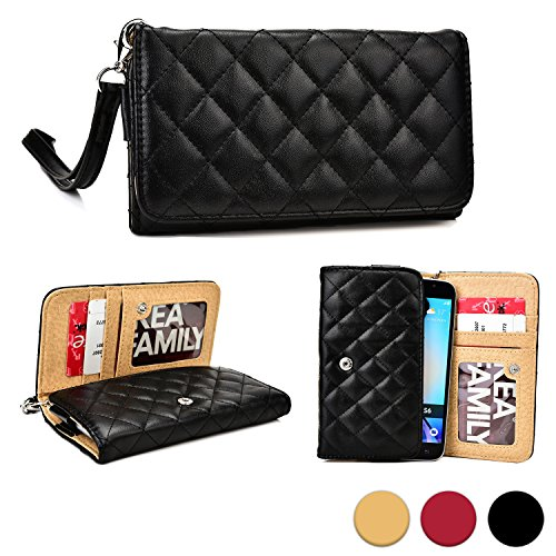 Cooper Cases(TM) Quilted Women's Clutch Universal Smartphone Wallet Case in Black (Detachable Lanyard Strap; Credit Card/ID Slots, Slip Pockets) - Remote Lanyard Replacement