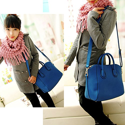 Shoulder Blue Women Leather Bags PU Widewing Frosted Purse Bag Tote Handbag wEndvpxv8