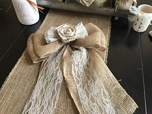 Farmhouse Decor Burlap Lace Stripe Ticking Flower Bow Door Chair Wreath Accent Rustic Vintage Chick Tan Black Navy Pink Green Red -