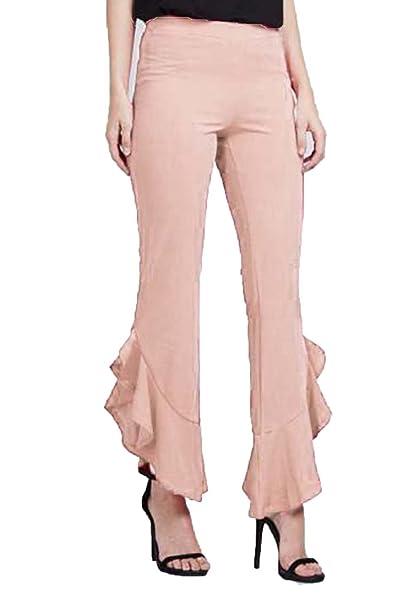 4706a3f1c358 Be Jealous Womens Bottom Ruffle Frill Wide Leg Palazzo Trousers Pants  Legging at Amazon Women s Clothing store