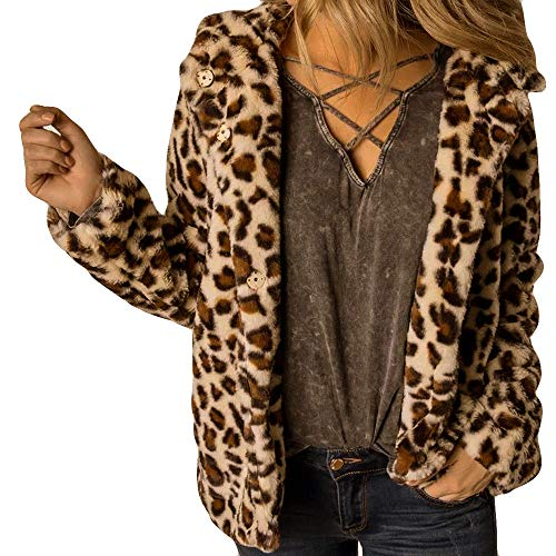 Kulywon Fashion Women Button Coat Fluffy Leopard Tops Hooded Pullover Loose Sweater