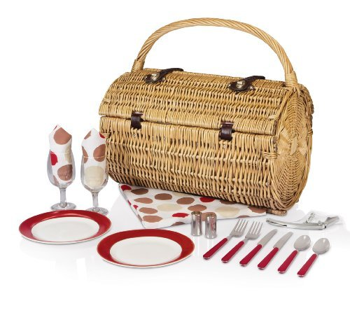 Picnic Time Barrel Picnic Basket with Service for Two, Moka Collection by Picnic Time - Barrel Willow Picnic Basket