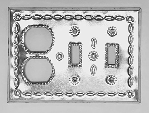 (Tin Duplex Double Toggle Switches Combo Cover Plate Beveled Shiny)