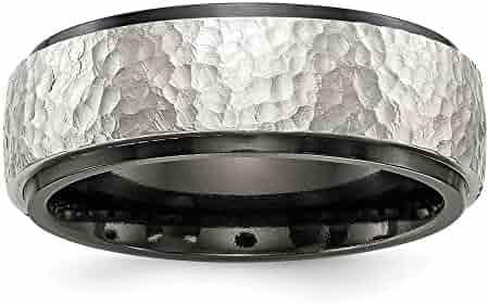 Jay Seiler Titanium Black Titanium Hammered Ridged Edge 7mm Brushed Band Size 11 Titanium