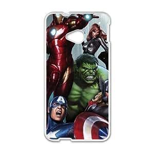 Avengers Assemble plástico funda HTC uno caja del teléfono celular M7 funda funda caja del teléfono celular blanco cubrir ALILIZHIA06213