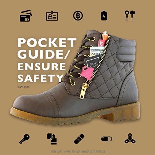 DailyShoes Women's Military Kampfstiefel Quilted Wandern Schnürung Schnalle Knöchelhoch Exklusive Kreditkarten-Tasche Premium Brauner Pu