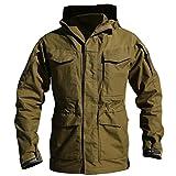 Army Clothes Casual Tactical Windbreaker Men Winter Autumn Waterproof Flight Pilot Coat Hoodie Military Field Jacket Brown XL