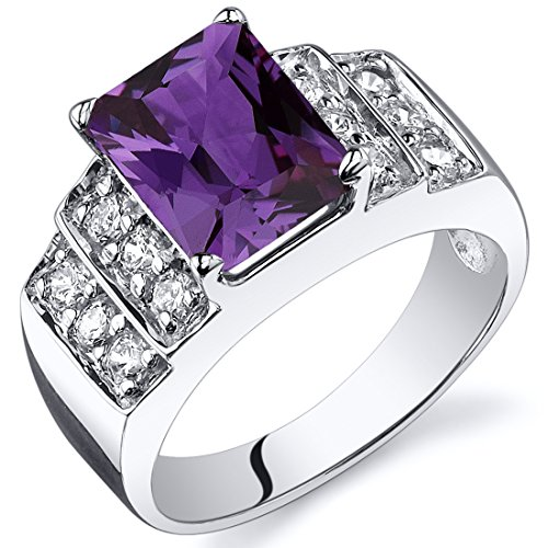 Simulated Alexandrite Step Ring Sterling Silver Rhodium Nickel Finish 3.00 Carats Size 9 - Step Cut Cz Ring