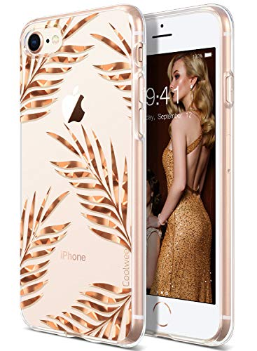 Coolwee iPhone 8 Case,Clear iPhone 7 Case Rose Gold Thin Shiny Glitter Floral Foil Tropical Cute Light Soft TPU Bumper Protective Cover for Apple iPhone 7 iPhone 8 4.7 inch (Spackle Series) Leaves
