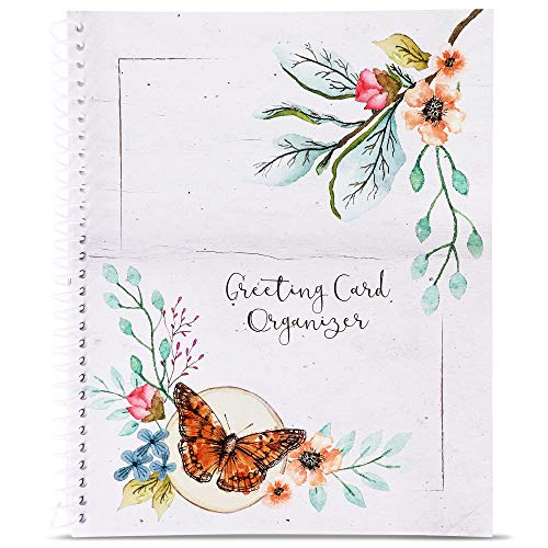 - Sustainable Greetings - Monthly Greeting Card Holder Organizer Book with Pockets and 12 Blank 4x6 Birthday Cards and Envelopes, 8 x 10 Inches