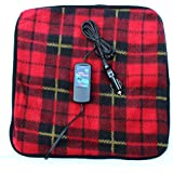 "Car Cozy 2 Mini 12-volt Heated Travel Pad (Red Plaid, 16""x 16"") with Patented Safety Timer by Trillium Worldwide"